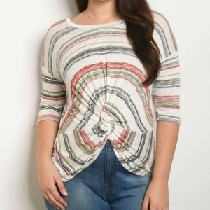 NWT Plus Size Twist Front Striped Blouse